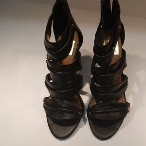 Sz 6.5 Black Leather Strappy Sandals